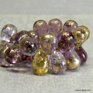 Orchid amethyst and citrine glass with venetian finish