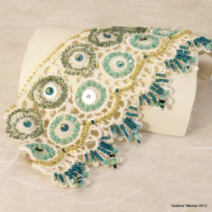 Aqua and gold beaded lace bracelet