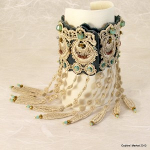 Roaring 20's Lace and Leather Fringed Bracelet