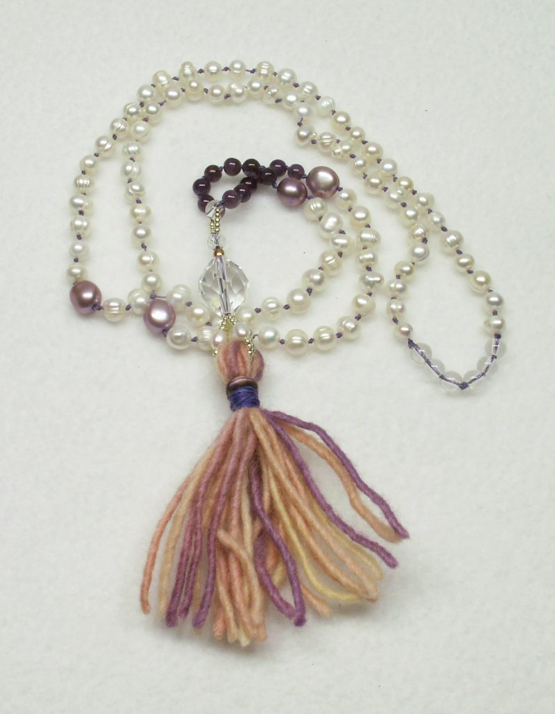 Hand strung 108 bead Mala pearl and Amethyst by Virginia Burnett