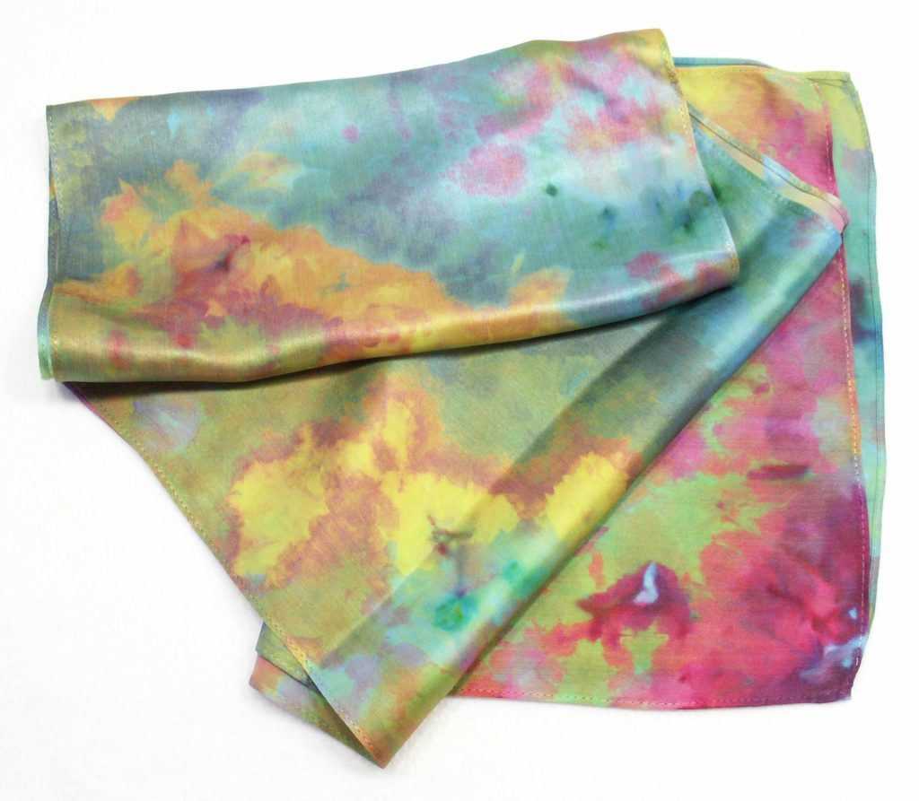 Silk Satin Ice Dyed Scarf by Goblins' Market in Tiffany colorway